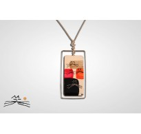 CHAT D'OR- COLLIER RECT. TOUR ARGENT 925