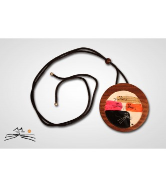 CHAT D'OR - COLLIER BOIS ROND