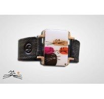 CHAT D'OR - BRACELET CUIR NOIR M