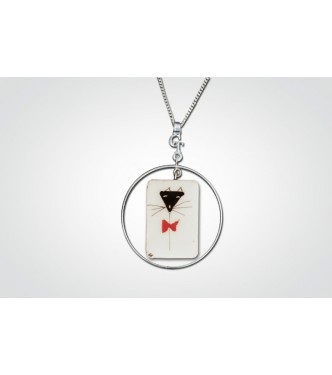 LE PAPILLON ET LE CHAT - COLLIER RECT. TOUR ARGENT 925